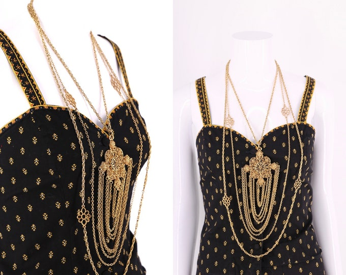 vintage 60s gold statement necklace  / 1960s layered chains & pendant costume jewelry