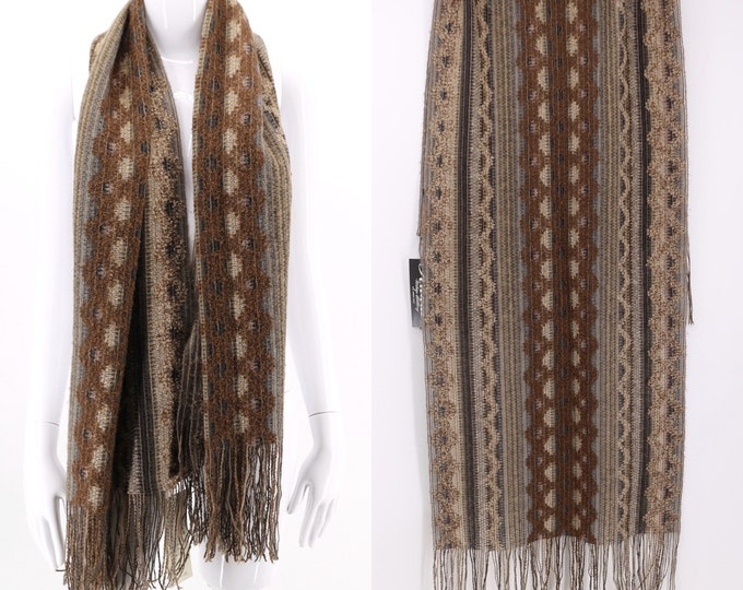 80s MISSONI earth tone woven zig zag knit scarf / vintage 1980s Italy Foulard wrap shawl 62 x 21
