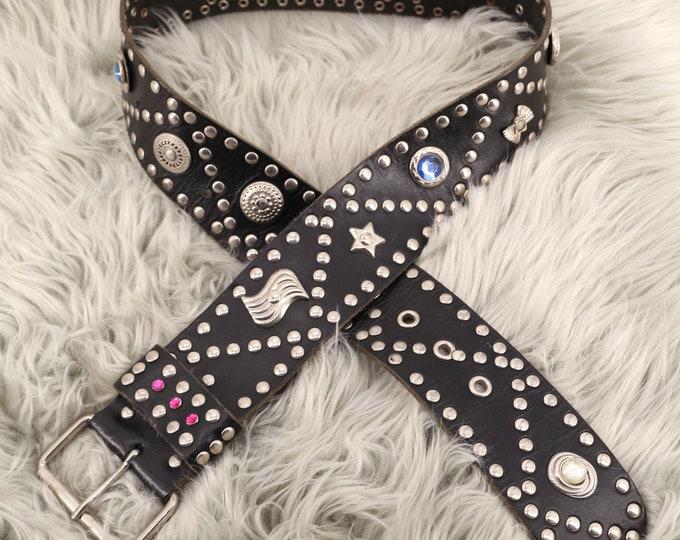 """80s black leather & silver studded punk belt / vintage 1980s tough studded wide waist belt Large 27""""-37"""""""