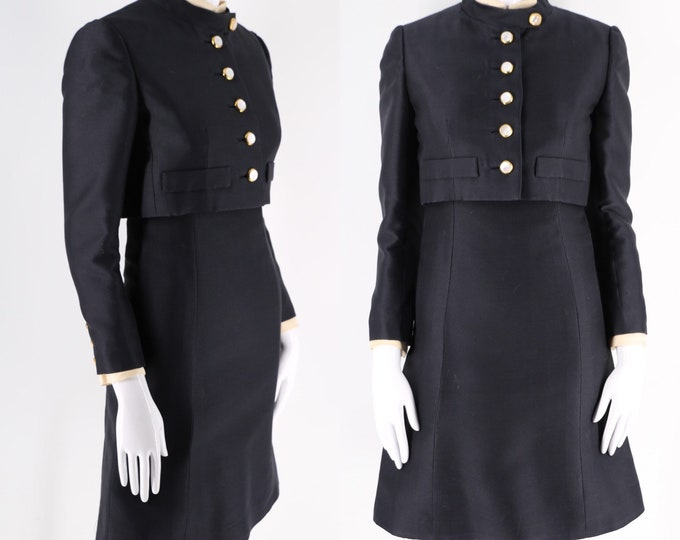 60s Adele Simpson black wool dress suit w/ jacket / vintage 1960s military button cropped jacket sheath dress sz S / 4