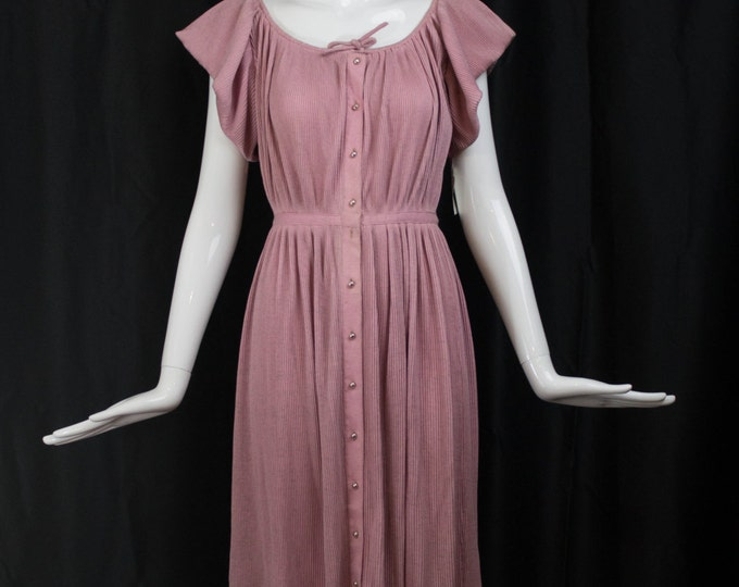 Vintage 1950s BONNIE CASHIN accordion pleated pink heather wool design archive pearl button front tie neck a line wide sleeve RARE day dress