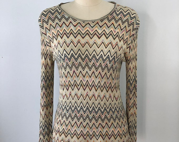 70s MISSONI soft colors zig zag silk knit SWEATER top vintage 1970s Medium
