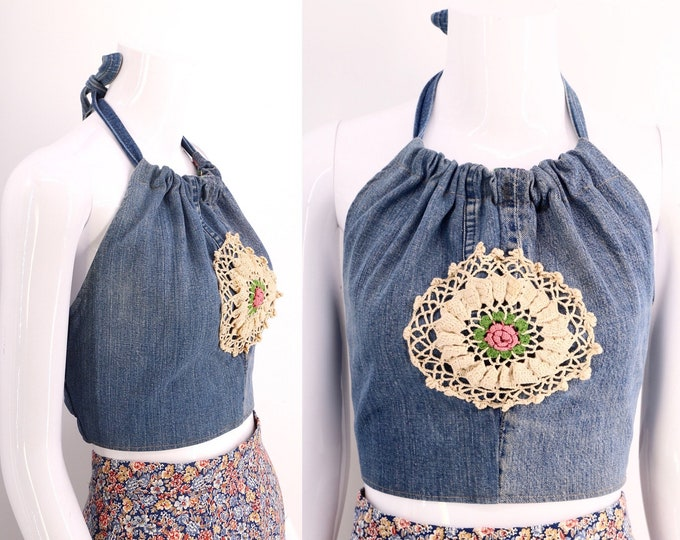 70s denim halter top / vintage 1970s custom crochet handmade tie top shirt blouse Woodstock era 60s