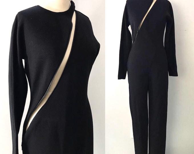 80s 90s GEOFFREY BEENE black wool knit asymmetrical zipper JUMPSUIT pants set vintage 10