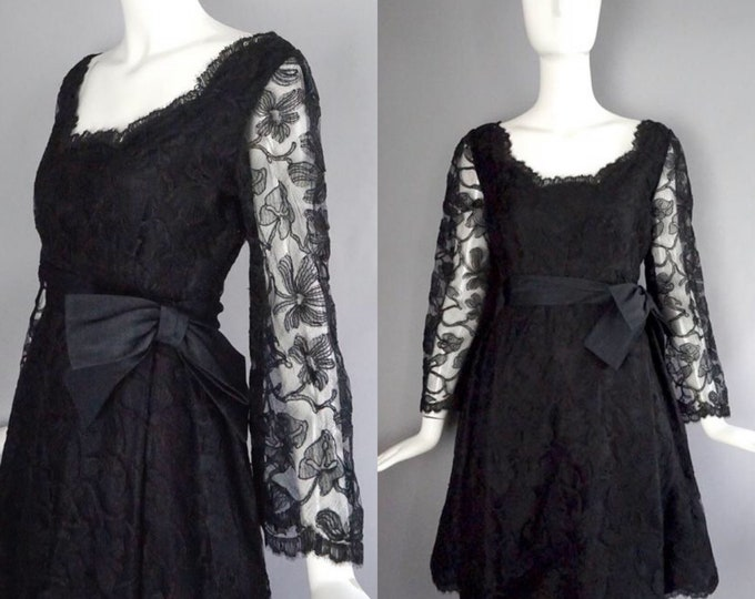 60s CHESTER WEINBERG dress size 6 / vintage little black lace cocktail dress high waisted w/ bow vintage 1960s