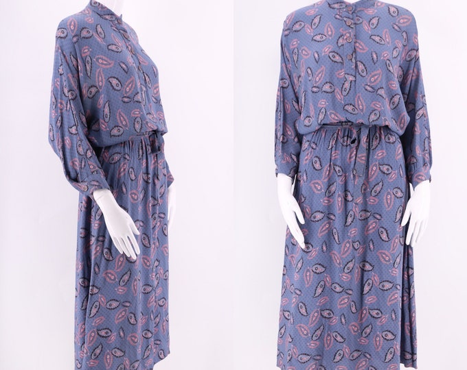 70s RAGTIME blue paisley floral dress / vintage 1970s rayon boho peasant dress sz M-L