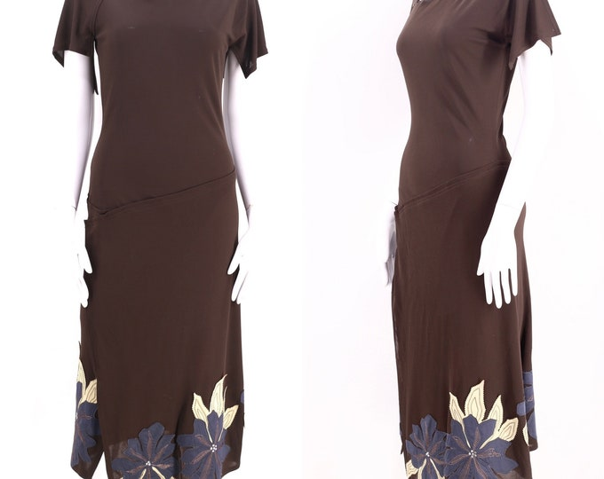 CHLOE Y2K jersey appliquéd dress M / vintage Stella McCartney era 2000s chocolate brown jersey dress 38 8
