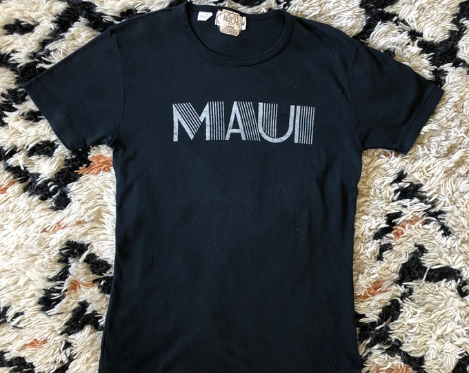 70s MAUI black soft cotton logo t shirt / vintage 1970s Hawaii graphic novelty shirt L