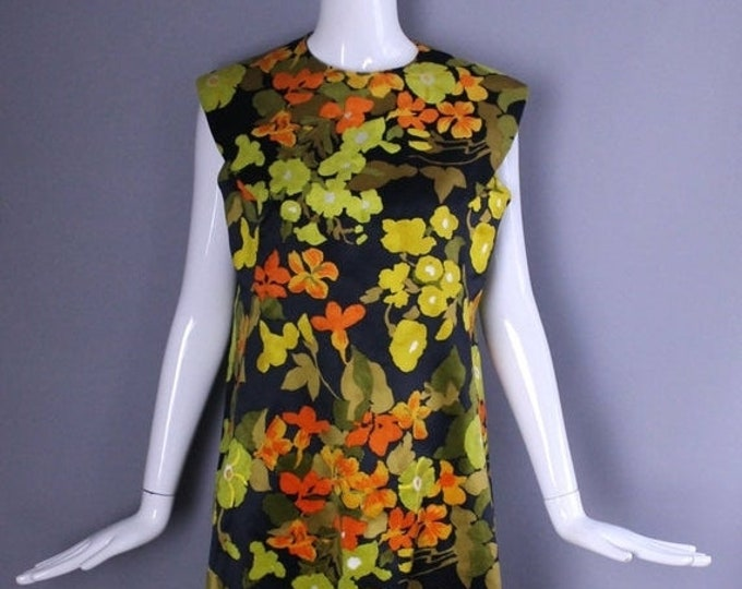 25% OFF 60s ARNOLD SCAASI autumn floral Flocked silk velvet a line sheath dress mod vintage 1960s