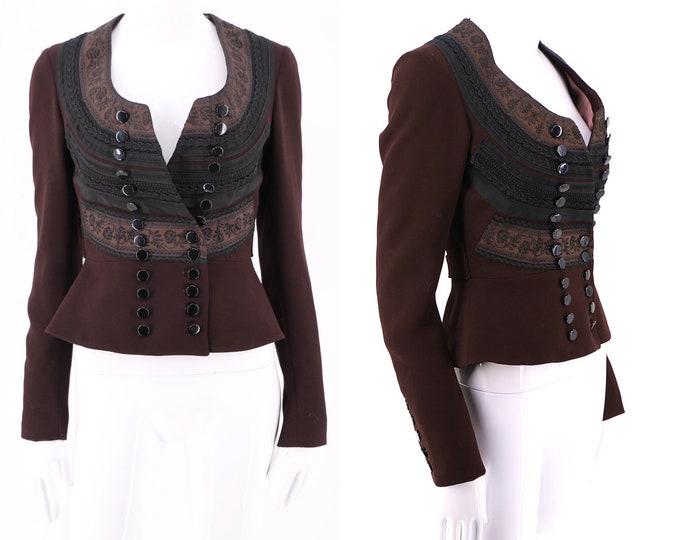 brown black JEAN PAUL GAULTIER ribbon trim matador military inspired blazer / vintage 90s jpg jacket size 4