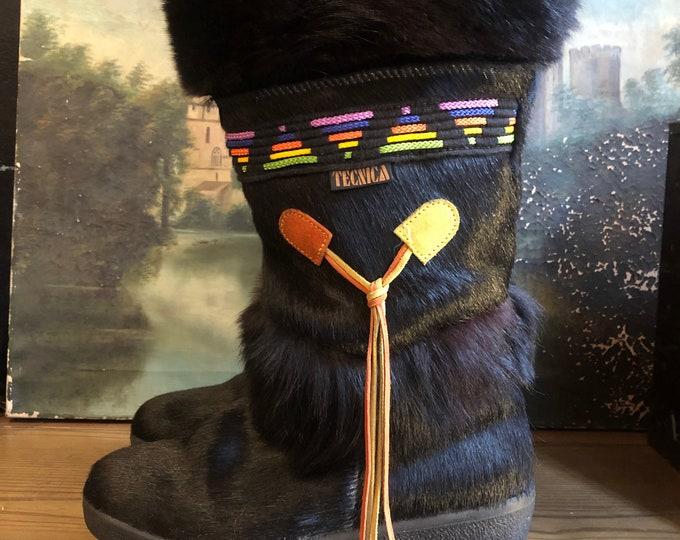 TECNICA 1980's Fur Ski Boots Size 9-9.5