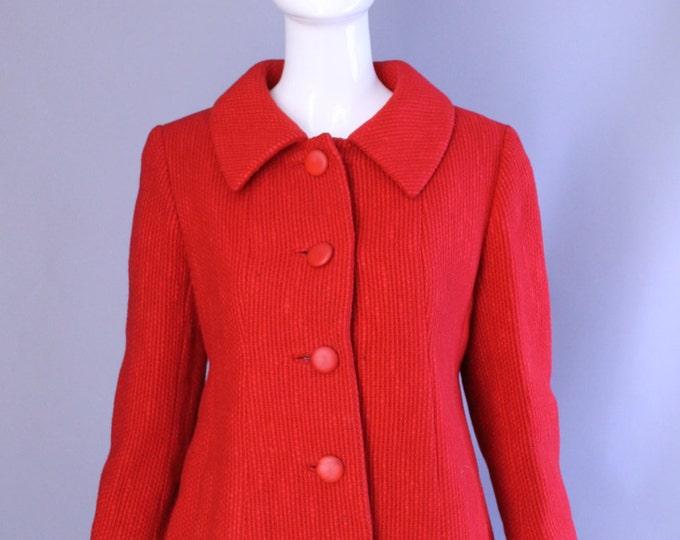 1950s 1960s lipstick red BEN ZUCKERMAN woven wool tailored cropped jacket BLAZER back sash vintage