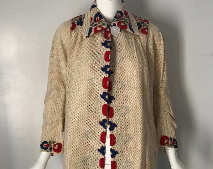 30s ARTS & CRAFTS embroidered cream woven Depression era duster JACKET coat 1930s vintage