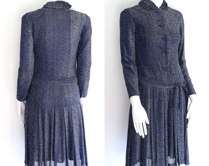 60s GEOFFREY BEENE lurex dress / vintage 1960s 70s Beene Boutique sparkly sash dress sz S