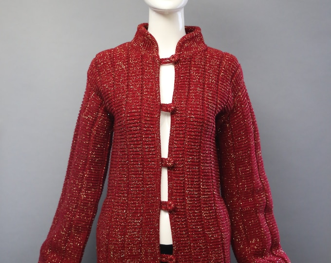 70s VALENTINO lipstick red and gold lurex loped peek a boo button cardigan SWEATER vintage 1970s small