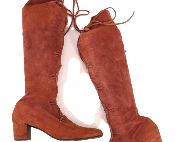 60s JOSEPH suede lace up boots sz 10 / vintage 1960s knee high ITALY hippy mod low heel 70s RARE