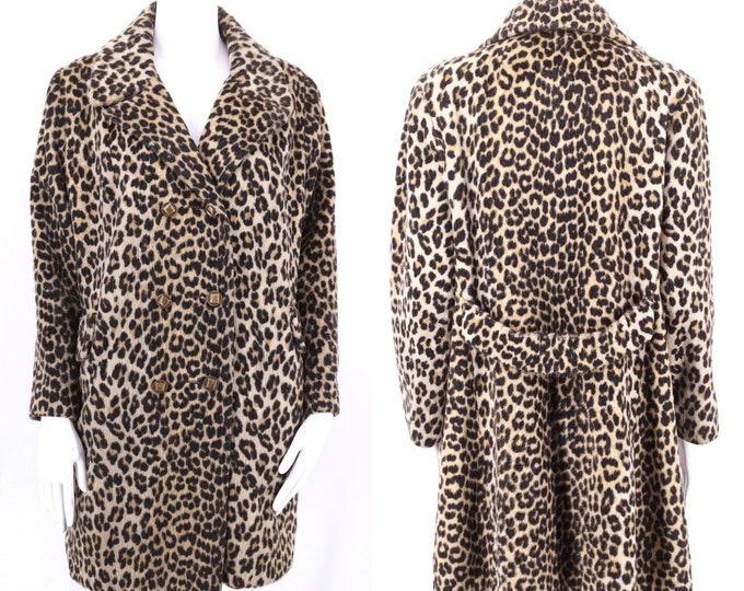 60s vintage leopard print faux fur coat M  / vintage sash back cheetah plush fur coat 1960s 50s size M