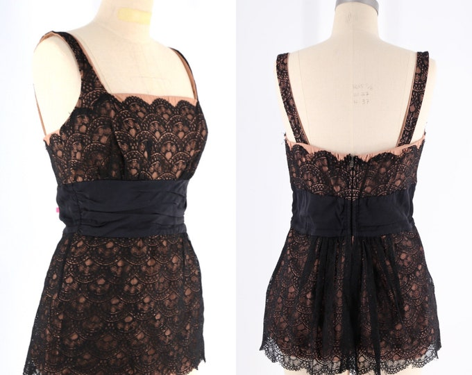 vintage 50s COLE swimsuit Large / 1950s  illusion lace one piece bathing suit / Cole of California black nude swimwear size L