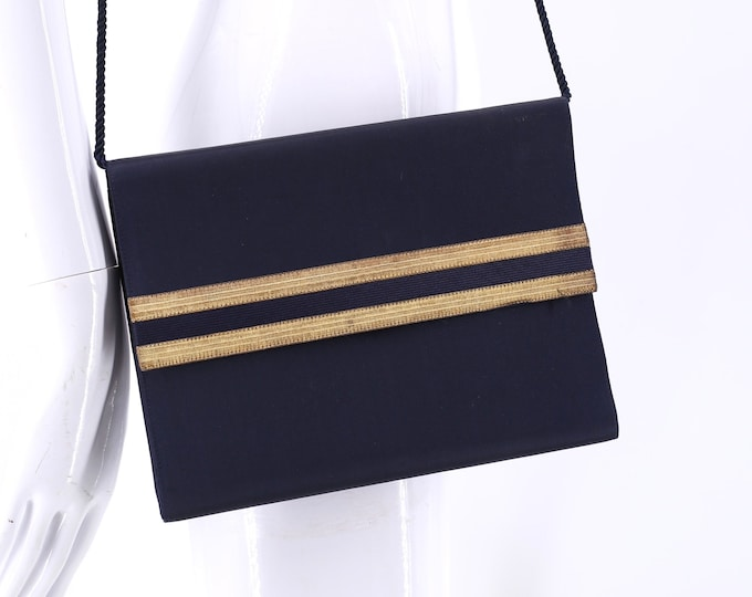 vintage RALPH LAUREN navy silk clutch shoulder bag / 1990s purple label collection nautical purse