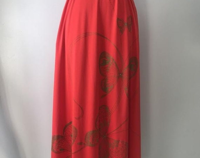 25% OFF 70s ALFRED SHAHEEN butterfly print red poly jersey maxi wrap skirt vintage 1970s
