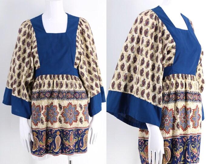 60s cotton batik bohemian micro mini dress / vintage 1960s print angel sleeve hippy dress M-L