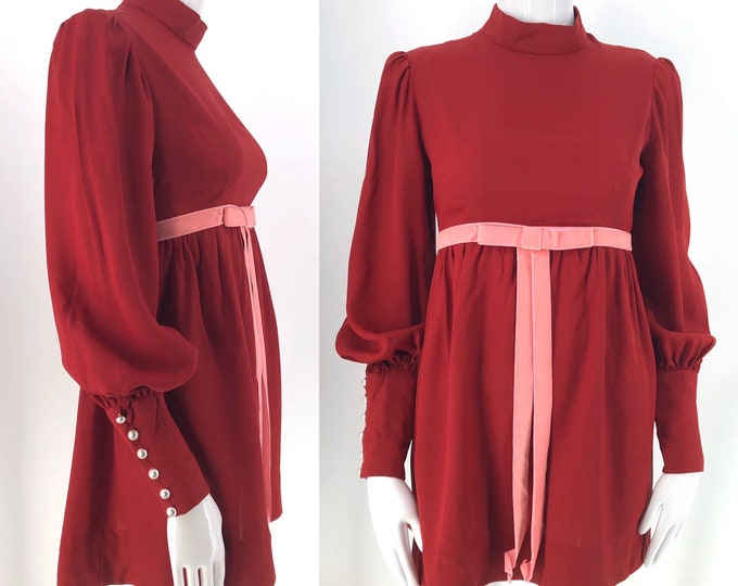"60s cranberry rayon baby doll mini dress / 1960s vintage Dolly dress w/ pink velvet ribbon 34"" bust"