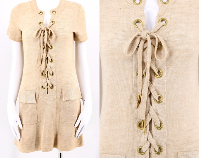 60s lace up knit Safari mini dress / vintage 1960s 70s beige YSL inspired mini skirt go go dress sz 6