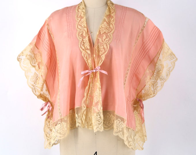 20s silk & lace lingerie blouse : Art Deco pink with lace trim and ribbons 1920s vintage top