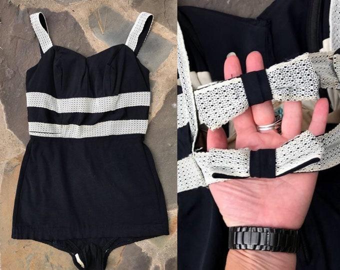 Vintage 50s PIN UP swimsuit / 1950s bow back  black white striped bathing suit Sz M