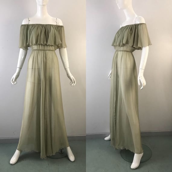 70s SCOTT BARRIE palest green silk chiffon airy of