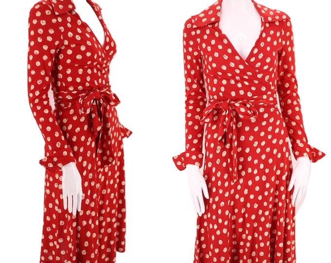 70s DVF wrap dress 6 / 1970s vintage red print Diane Von Furstenberg dot sash tie dress 1970s S-M