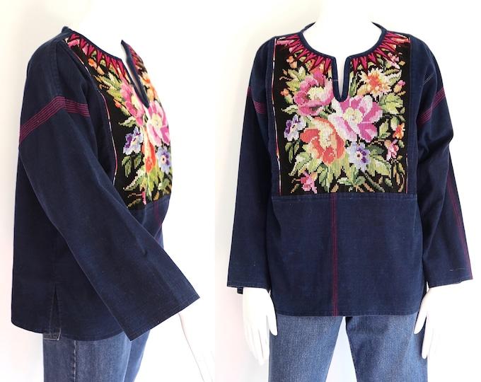 70s  vintage indigo stitched blouse  / vintage 1970s handmade ethnic textile top fabric blouse sz L