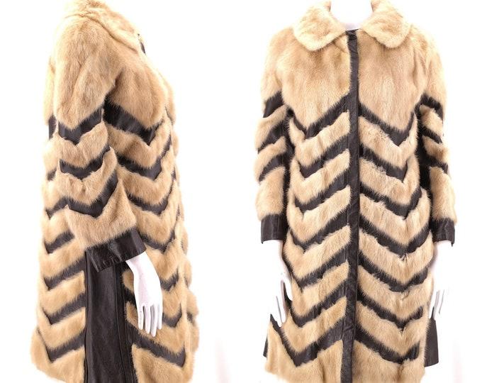 70s mink leather chevron fur coat / vintage 1970s tan mink brown leather SNAP FRONT disco glam pieced fur coat jacket M