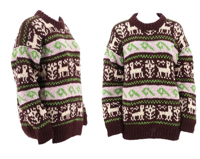 vintage HAND KNIT Llama print Peruvian wool sweater / 80s 90s handmade heavy knit sweater top M