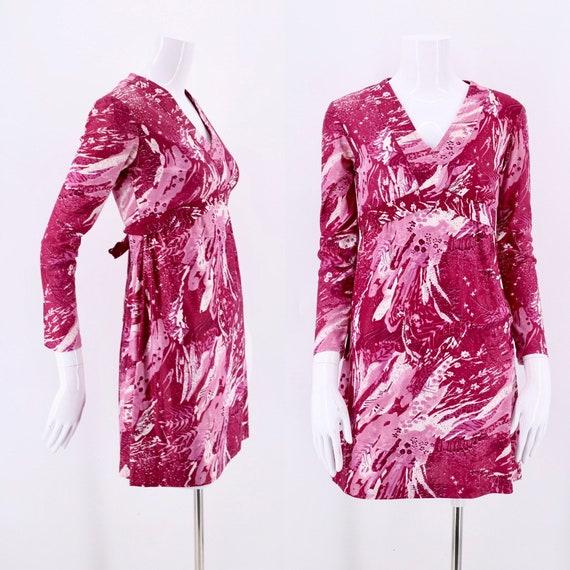 60s pink Printed Nylon Micro Mini Dress  / vintage