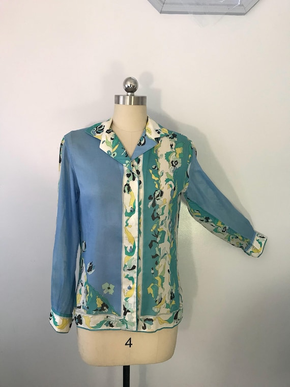 60s EMILIO PUCCI blue green signed print psychede… - image 3