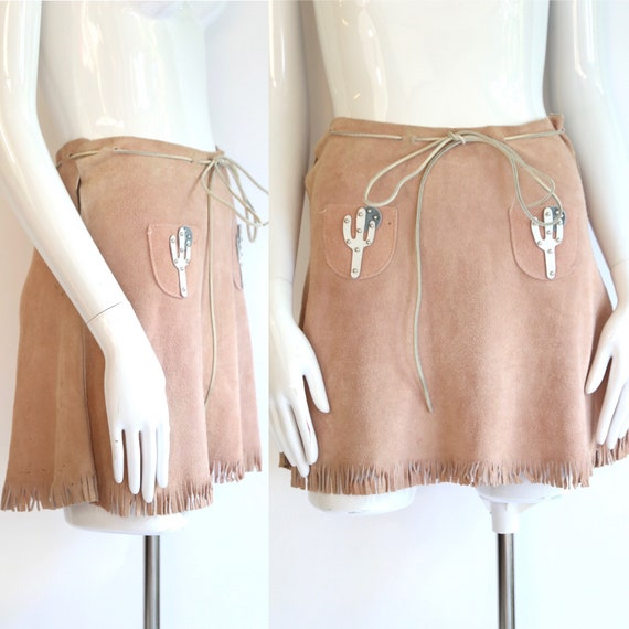 60s western suede mini skirt / vintage 1960s does