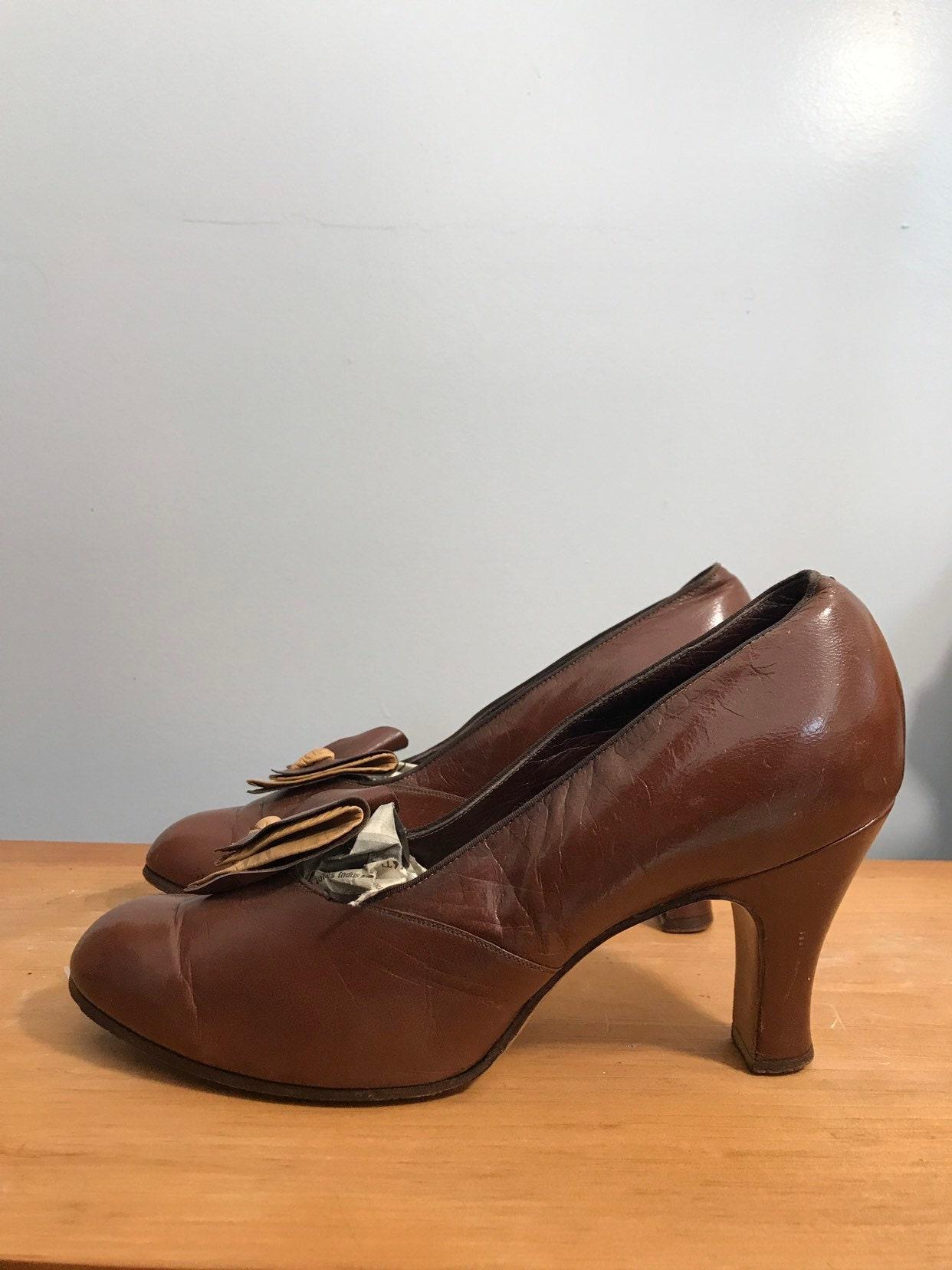Deco High Depression Pumps Chocolate Bow Shoes 30s Era Brown Leather cLq54A3Rj