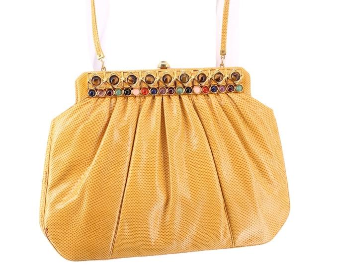 lizard JUDITH LEIBER yellow jeweled shoulder bag clutch / vintage 1980s Karung lizard skin leather gold frame purse shoulder bag 10.5 x 8
