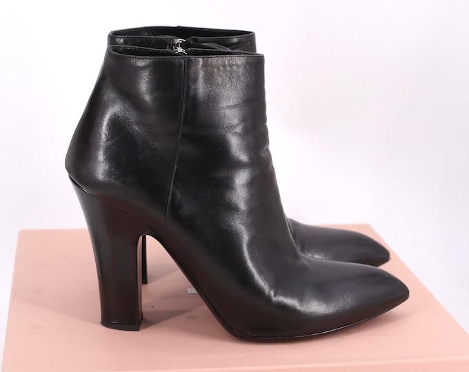 black MIU MIU Prada leather fetish high heels ankle boots booties 40 10