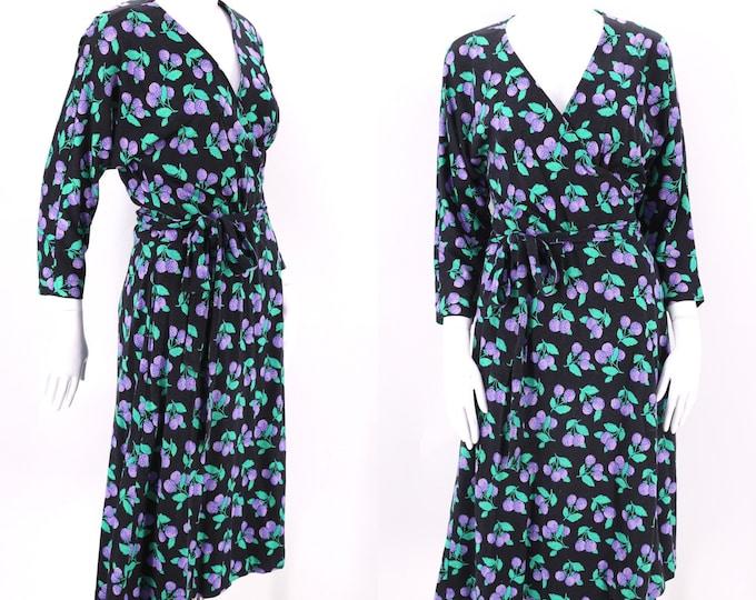 80s DVF black raspberry print classic wrap dress 12 / 1980s vintage Diane Von Furstenberg sash tie dress Large 1970s 13