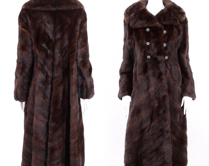 vintage Ranch Mink chocolate chevron pattern fur coat / vintage 1970s Black Diamond mink high end supple full sweep coat M 70s
