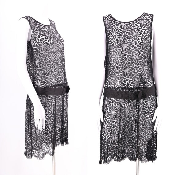 20s black lace dress / vintage 1920s Art Deco flap