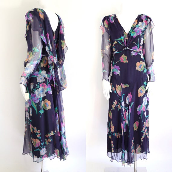 80s HOLLY HARP floral silk chiffon dress sz m / vi