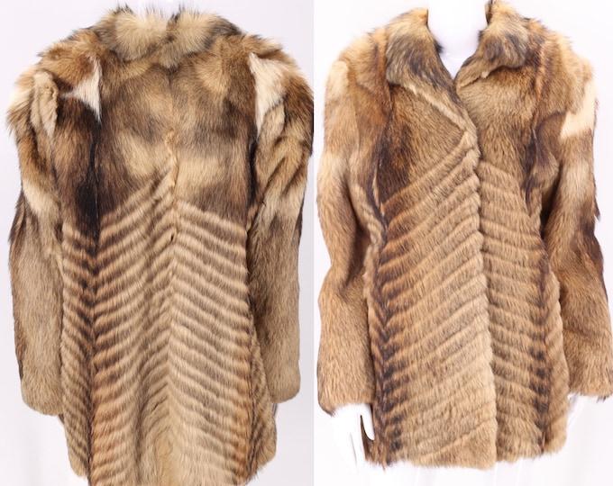 70s COYOTE fur vintage coat M / vintage 1970s chevron hip length textured real fur coat  M-L