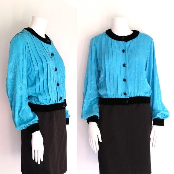 80s OSCAR De La RENTA silk velvet blouse sz 4 / vi