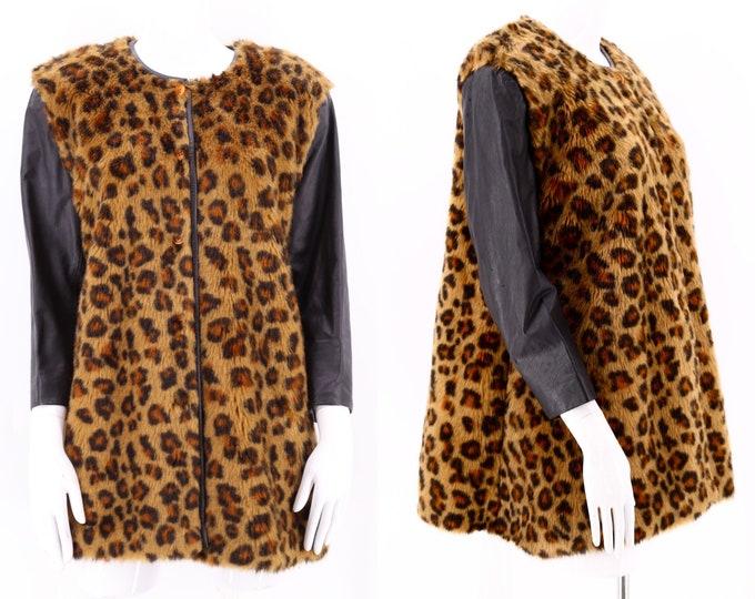 60s FAUX LEOPARD fur swing coat / vintage 1960s  Françoise Bébe Cheetah ModCoat jacket leather sleeves M-L