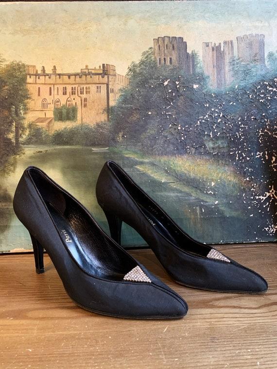 80s YSL black rhinestone shoes size 8 / 1980s vint