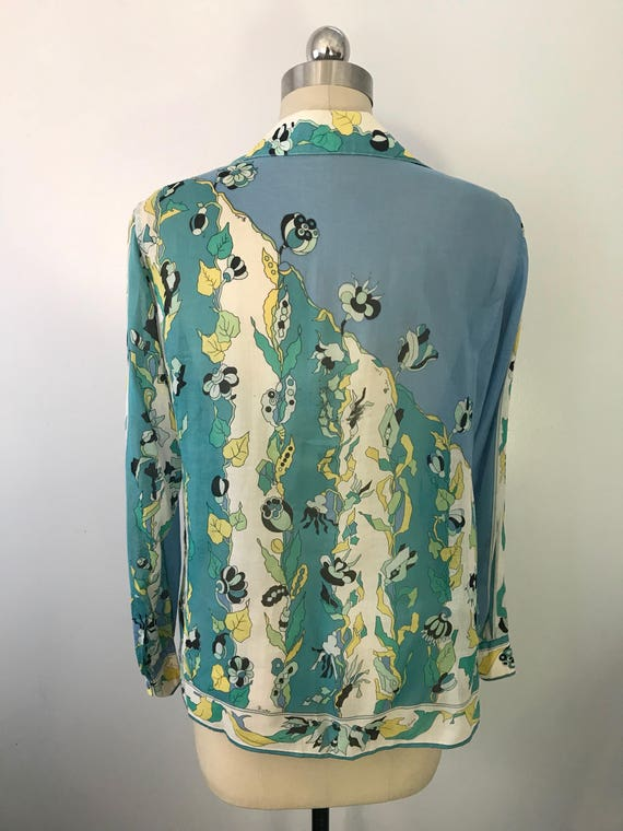 60s EMILIO PUCCI blue green signed print psychede… - image 2