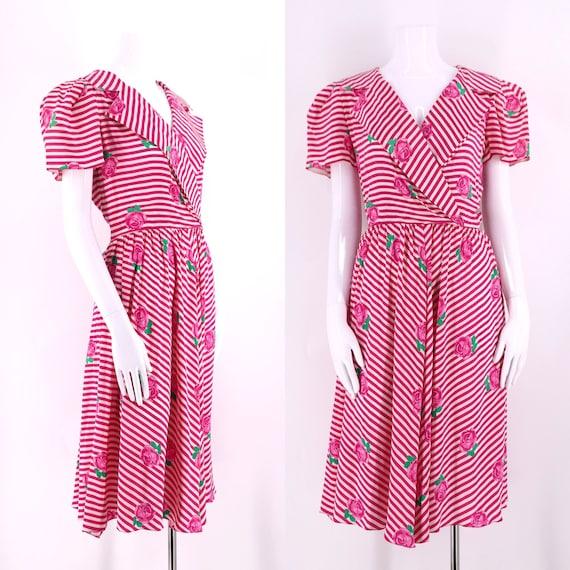 80s ALBERT NIPON silk striped floral print summer